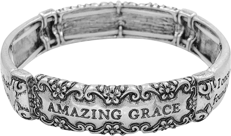 Gypsy Jewels Blessing Inspirational Worded Polished Metal Stretch Bracelet