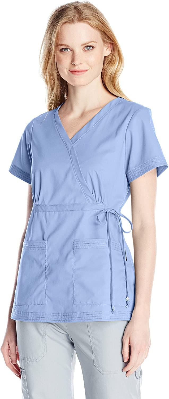 KOI Womens Katelyn Easy-fit Mock-wrap Scrub Top with Adjustable Side Tie, True Ceil, X-Small