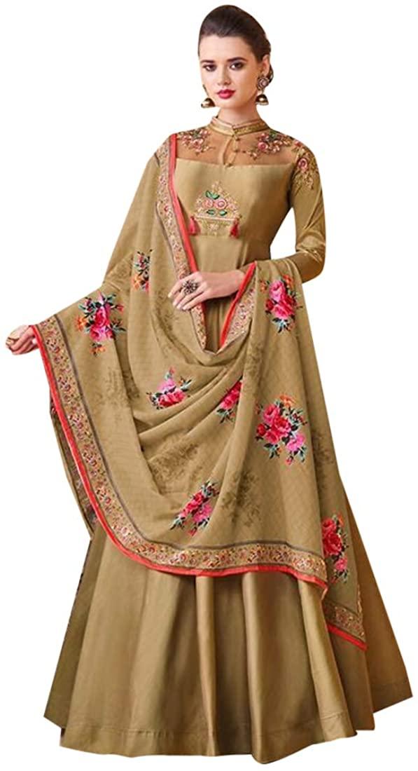 Indian Designer Evening Cocktail dress Gown style Soft Silk Anarkali Salwar Kameez Women Party wear Chest 44 Readymade 8618 SB