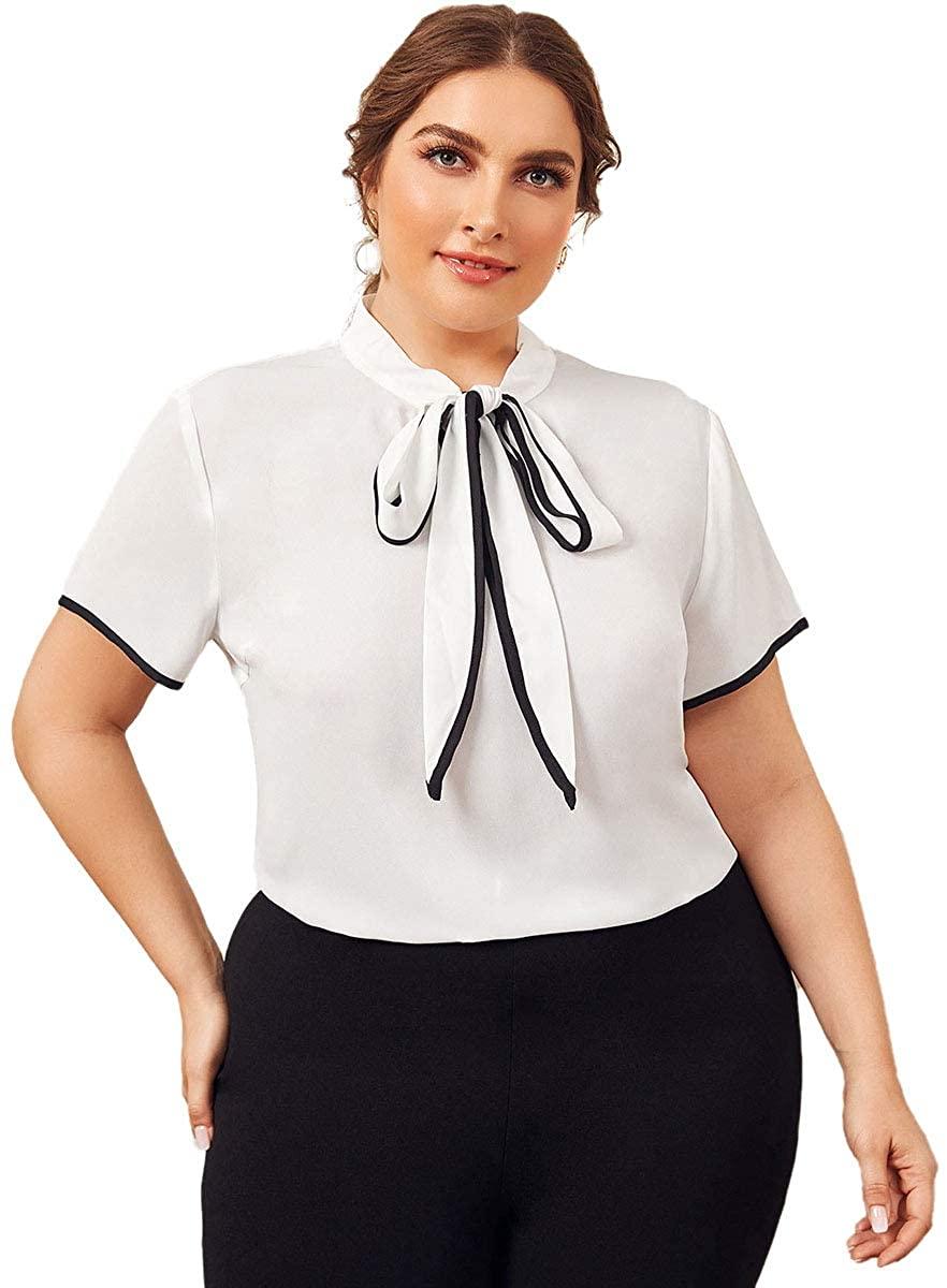 ROMWE Women's Plus Size Bow Tie Neck Short Sleeve Casual Wear to Work Blouse Tops