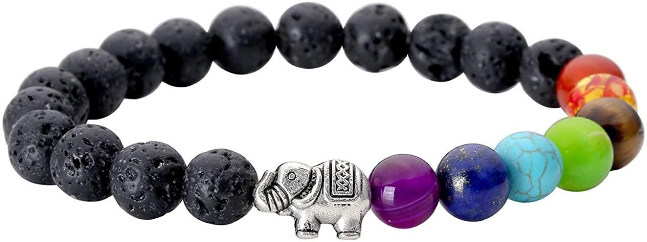 Jovivi Elephant Gifts for Women Bracelet - 8mm 7 Chakra Beads Bracelet Lava Rock Stones Healing Yoga Stretch Bracelets Aromatherapy Essential Oil Diffuser Bracelet for Lover Couples