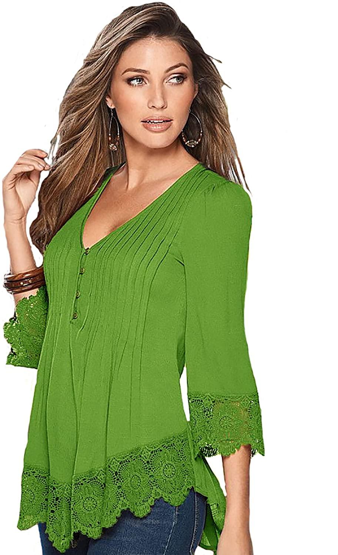 OMONSIM Summer Women Shirts 3/4 Bell Sleeve Blouse Button Pleated Henley Tops