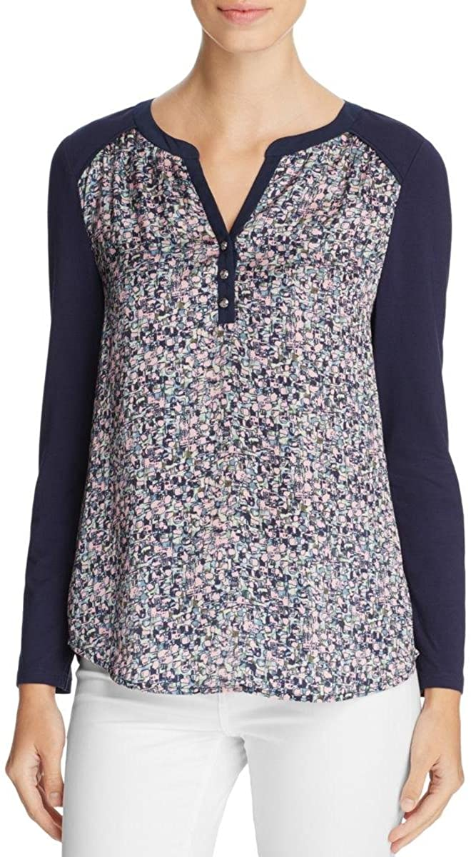 Finity Womens Printed Knit Henley Top