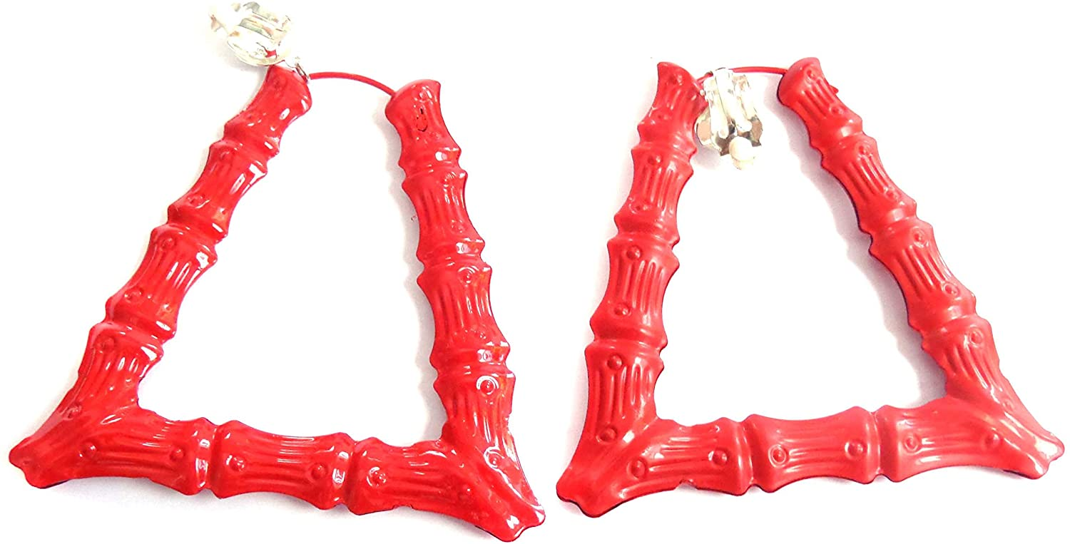 Clip-on Earrings Trapezoid Triangle Bamboo Red Hoop Earrings 3.5 inch
