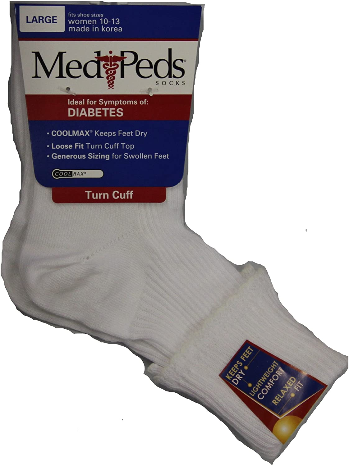 Medipeds Diabetic Light Weight Turn Cuff Socks 1 Pair