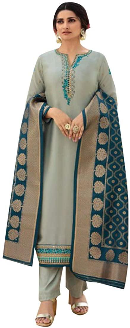 Indian Ethnic Festive Party wear Satin Salwar Kameez Banarasi Dupatta Punjabi Suit Women dress Semi-stitch 8668