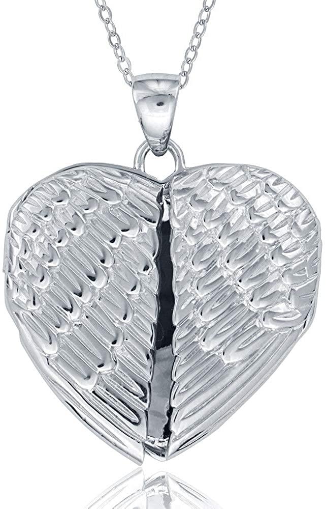 925 Sterling Silver Angel Wings Locket Heart Pendant