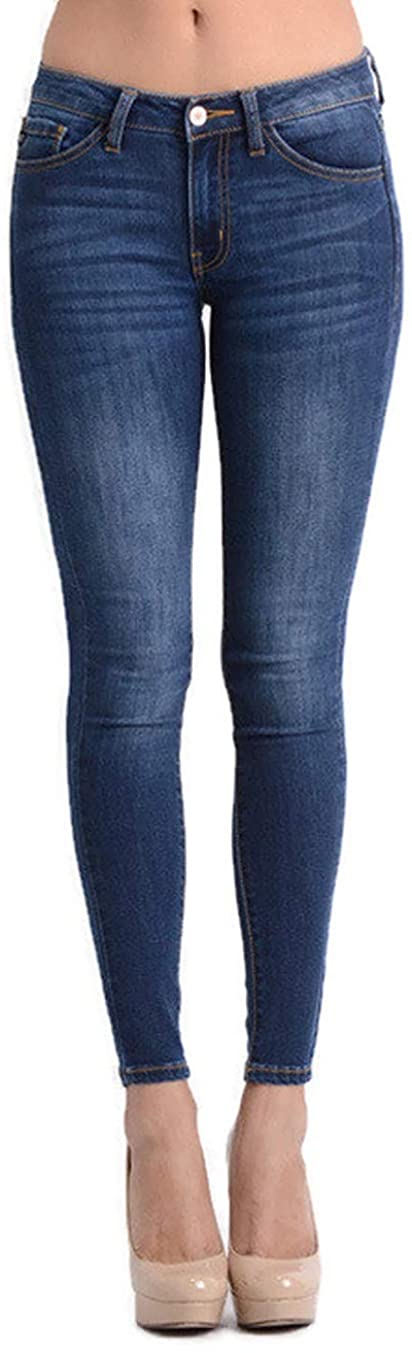 Kan Can Women's Five Pocket Basic Mid Rise Super Skinny Jeans Reg-Plus