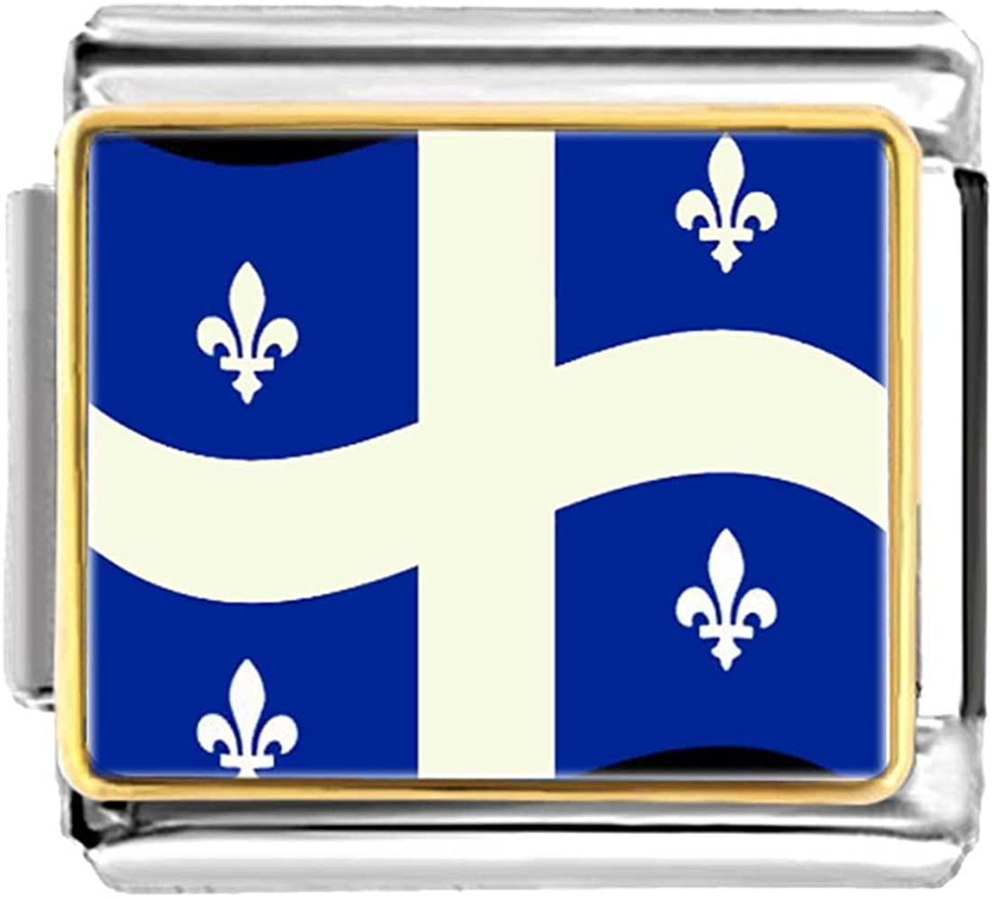 GiftJewelryShop Gold Plated Quebec Flag Bracelet Link Photo Italian Charm