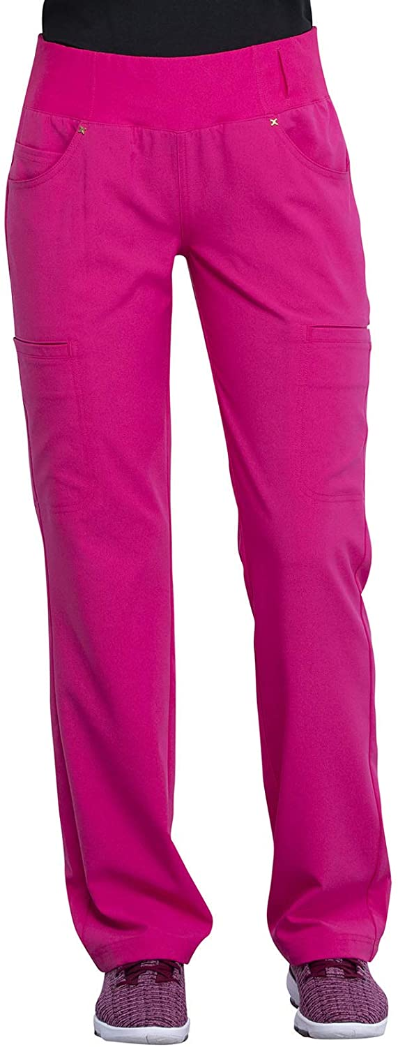 CHEROKEE iflex Mid Rise Straight Leg Pull-on Pant, CK002, M, Electric Pink