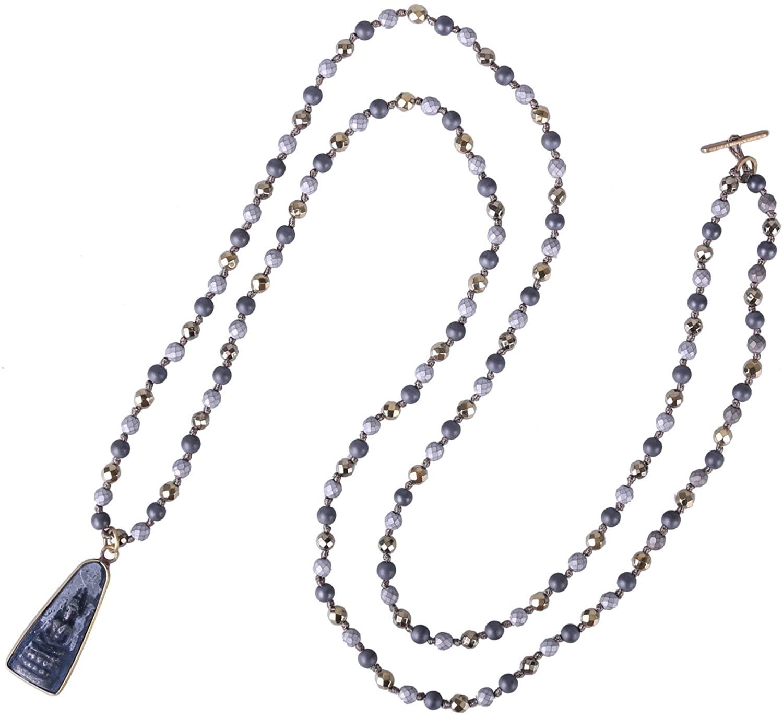 KELITCH New Silver Sakyamuni Buddha Pendant Necklace Crystal Beaded Strand Necklace Top Jewelry
