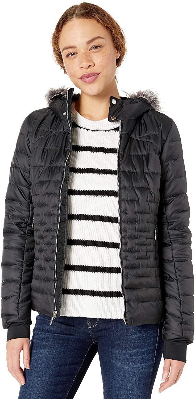 SPYDER Women's Edyn Insulated Waterproof Down Winter Jacket with Faux Fur Hood