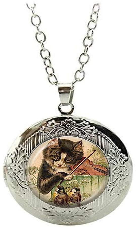 Cat Locket Necklace Music Jewelry Bird Locket Necklace, Kitty Playing Violin Animal Locket Necklace,Handmade Jewelry Gift