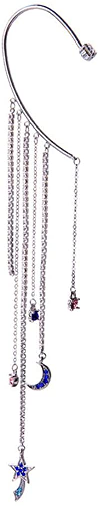 Ear Cuff Earring Tassel Rhinestone Wrap Pin Asymmetric Star and Moon Jewelry (1 Piece)
