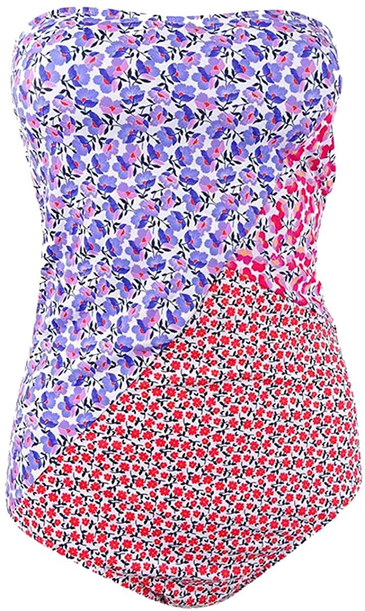 Jessica Simpson Women's Pretty Peony Paneled One Piece Swimsuit Tint Multi Large