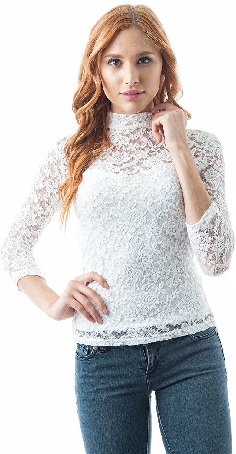 Women's 3/4 Sleeve Illusion Lined Lace Mock Neck Keyhole Cutout Back Top