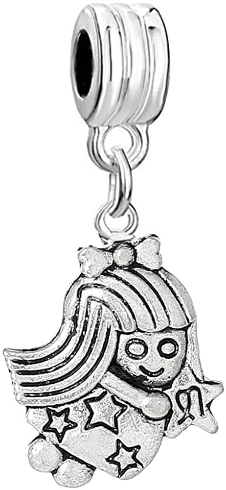 Sexy Sparkles Virgo Zodiac Charm Bead Spacer Compatible for Most European Snake Chain Bracelets