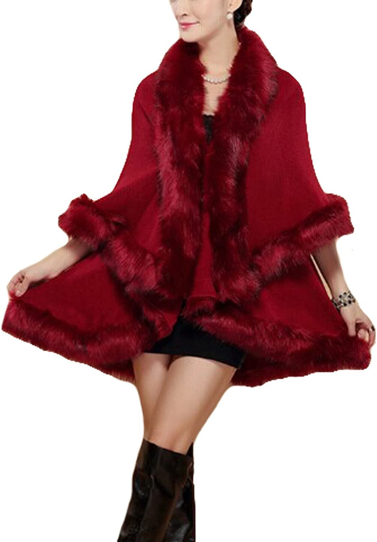Womens Faux Fox Fur Shawl Cloak Coat- Cape Cardigan Jacket