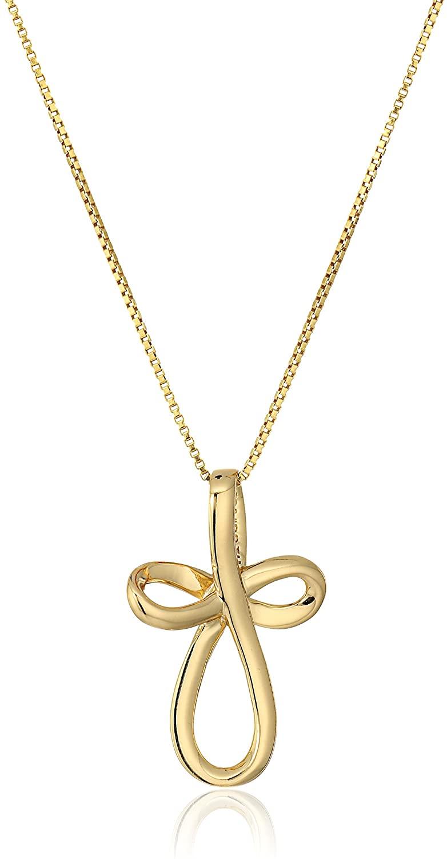 Sterling Silver Open Loop Cross Pendant Necklace 18