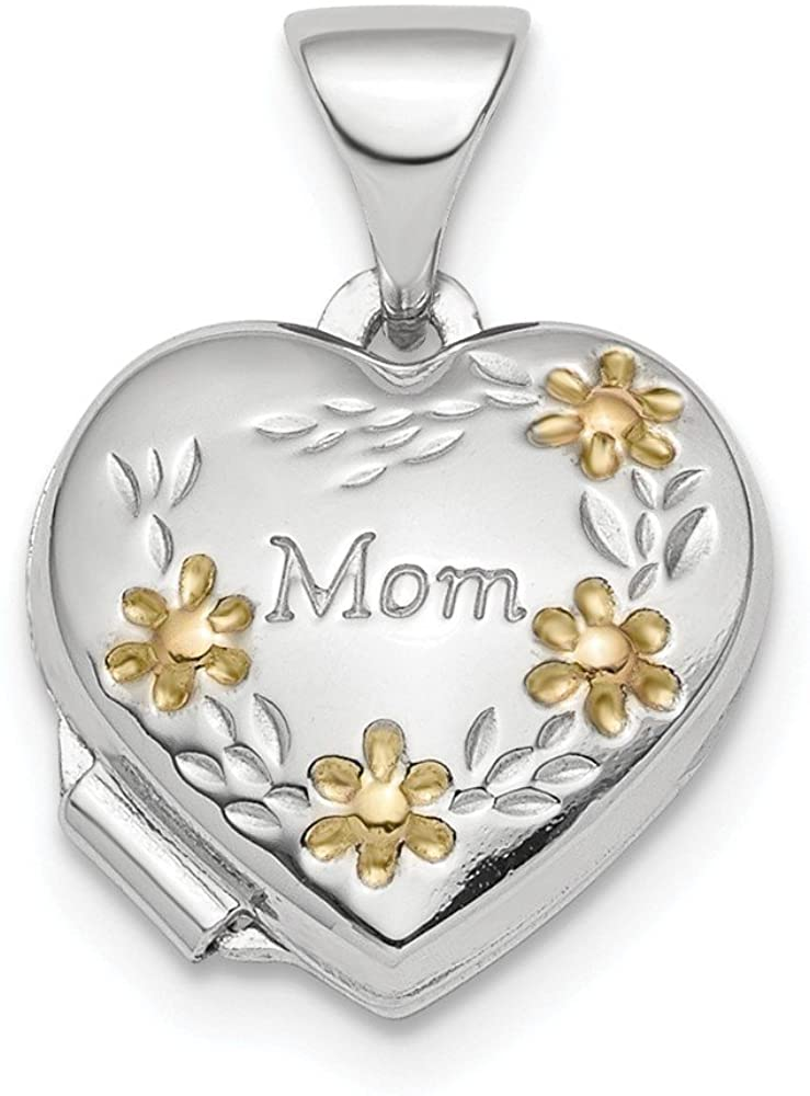 12mm 925 Sterling Silver Rhodium plated and Gold tone Floral Mom Love Heart Photo Locket Pendant Necklace Jewelry Gifts for Women