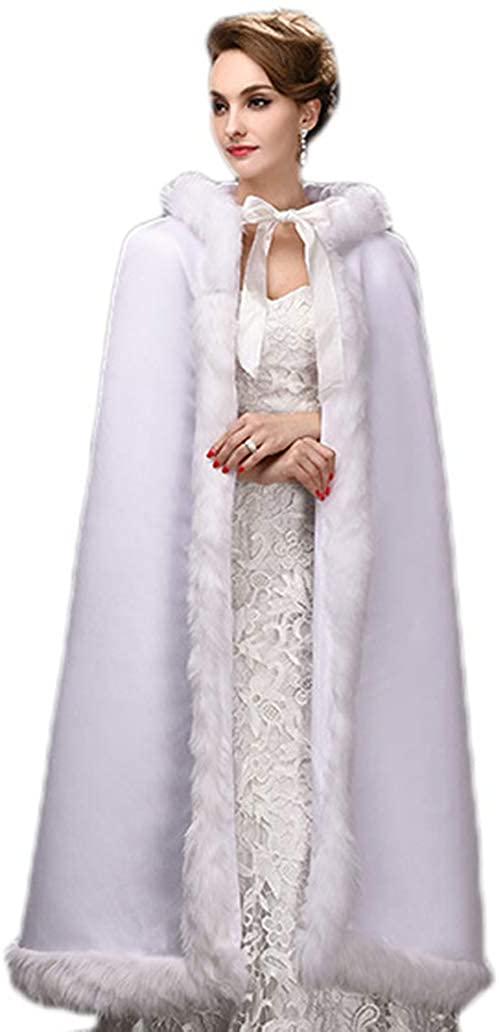 Telamee Wedding Cloak Velvet Long Bridal Cape Hooded Faux Fur Winter Wrap Stoles