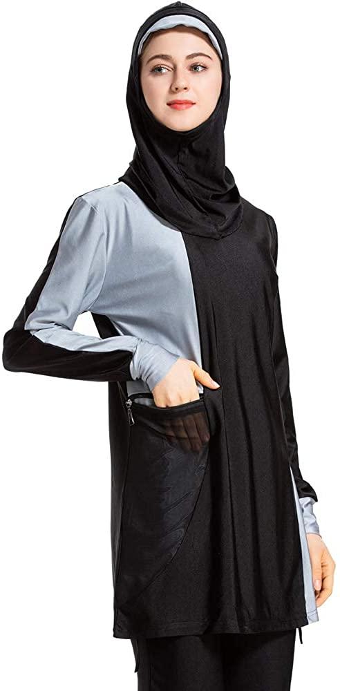 XDXART Womens Modest Muslim Islamic Swimsuit Gradient Burkini with Swimsuit SPF 50+