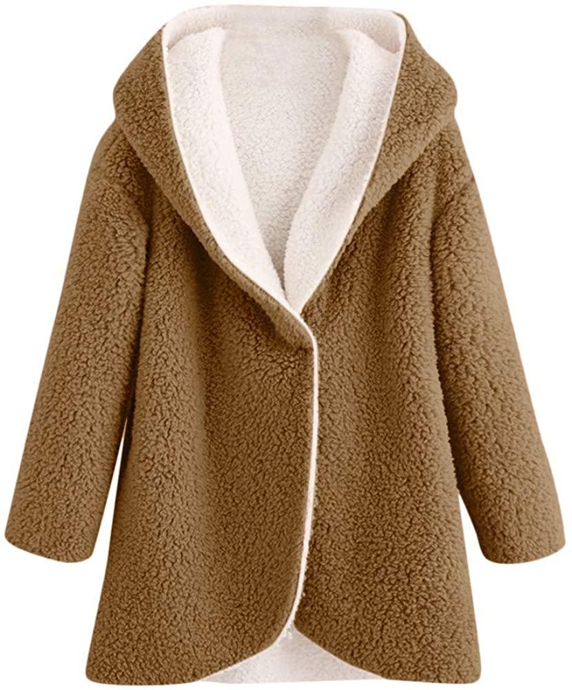 DRAGONHOO Womens Winter Curved Hem Longline Faux Fur Sherpa Fleece Hoodie Coat