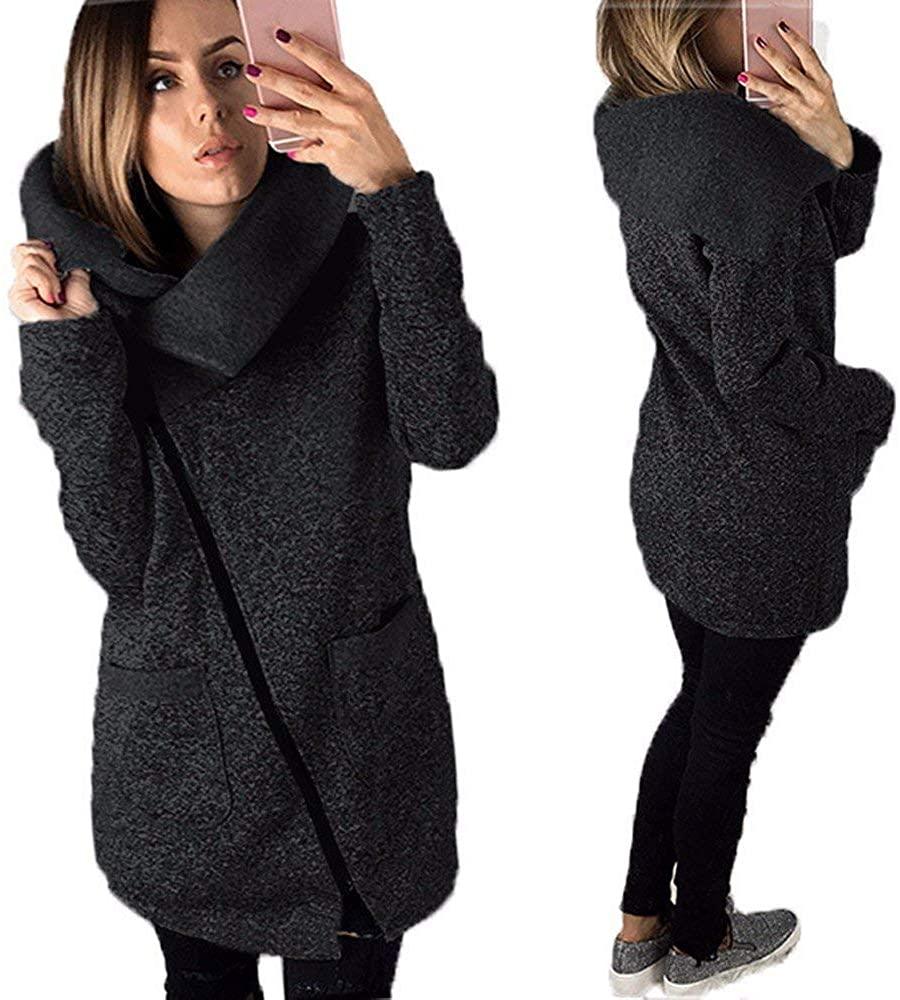 XMOMO Lady Hodded Vest Coat Sherpa Faux Fleece Warm Cardigan Sweater Open Front Women Black