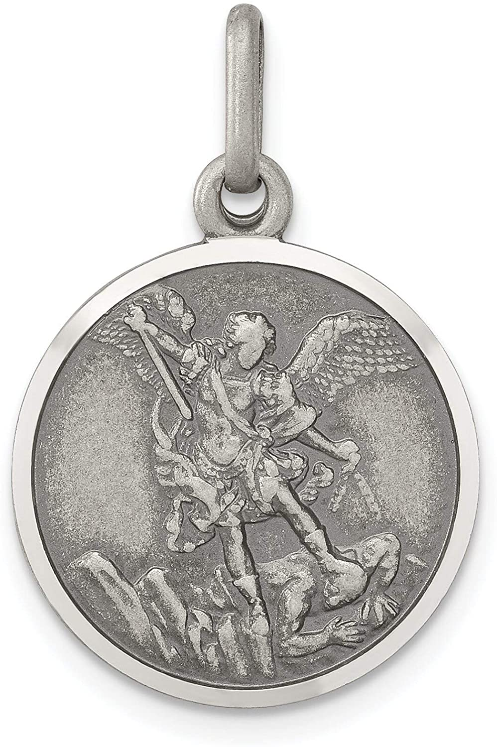 Sterling Silver Saint Michael Round Medal Pendant