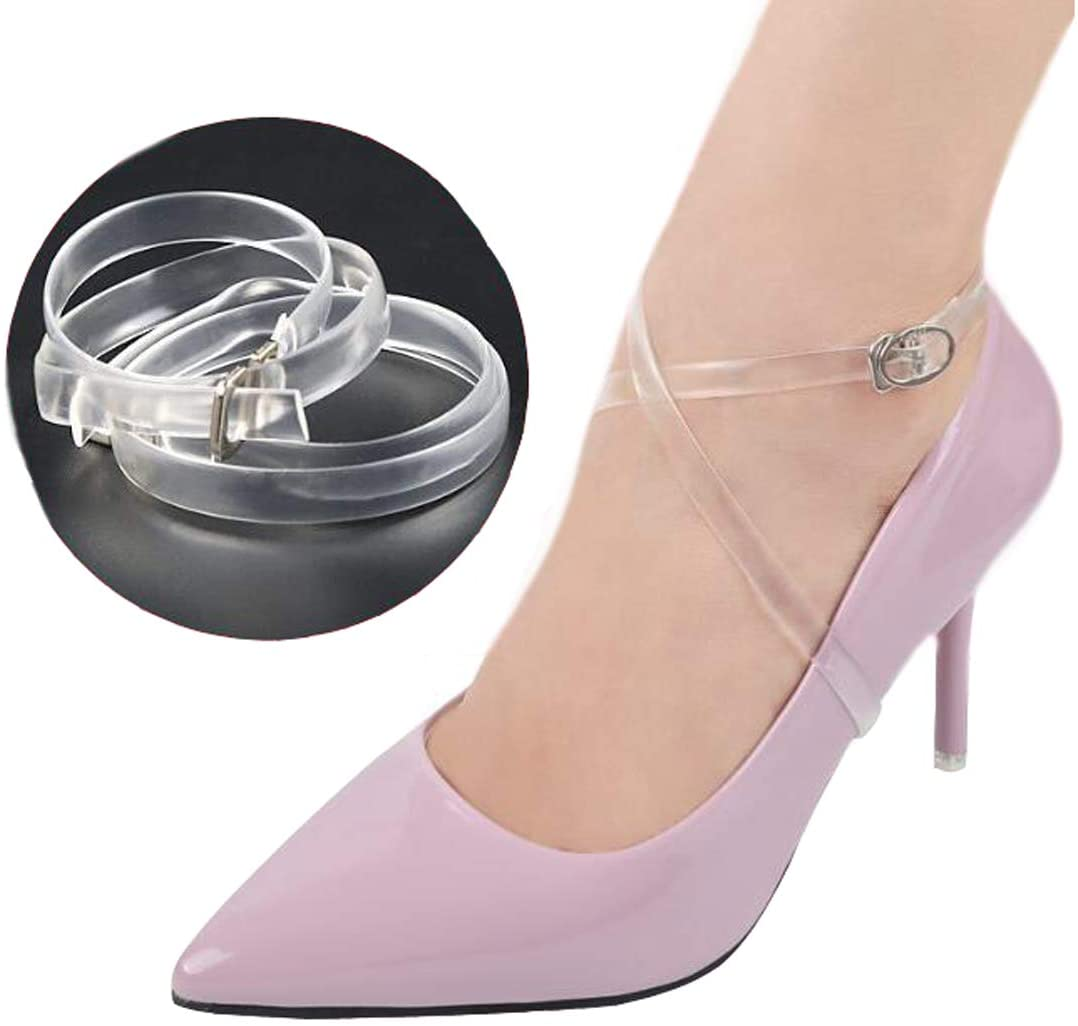 Ewanda store 2 Pairs Shoe Straps High Heels Shoelace Accessories Clear