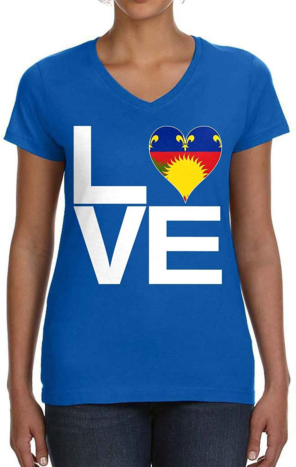 Tenacitee Women's Love Block Guadeloupe Heart V-Neck T-Shirt
