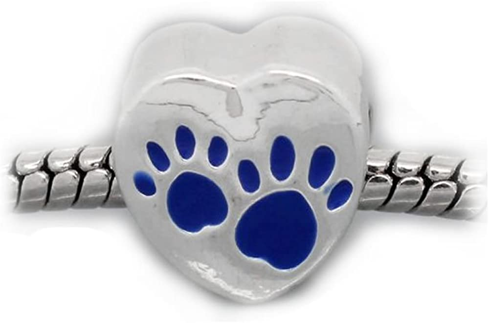 Sexy Sparkles Love Heart Charm with Paw Print Bead for Snake Chain Charm Bracelets (Choose Your Color from Menu)