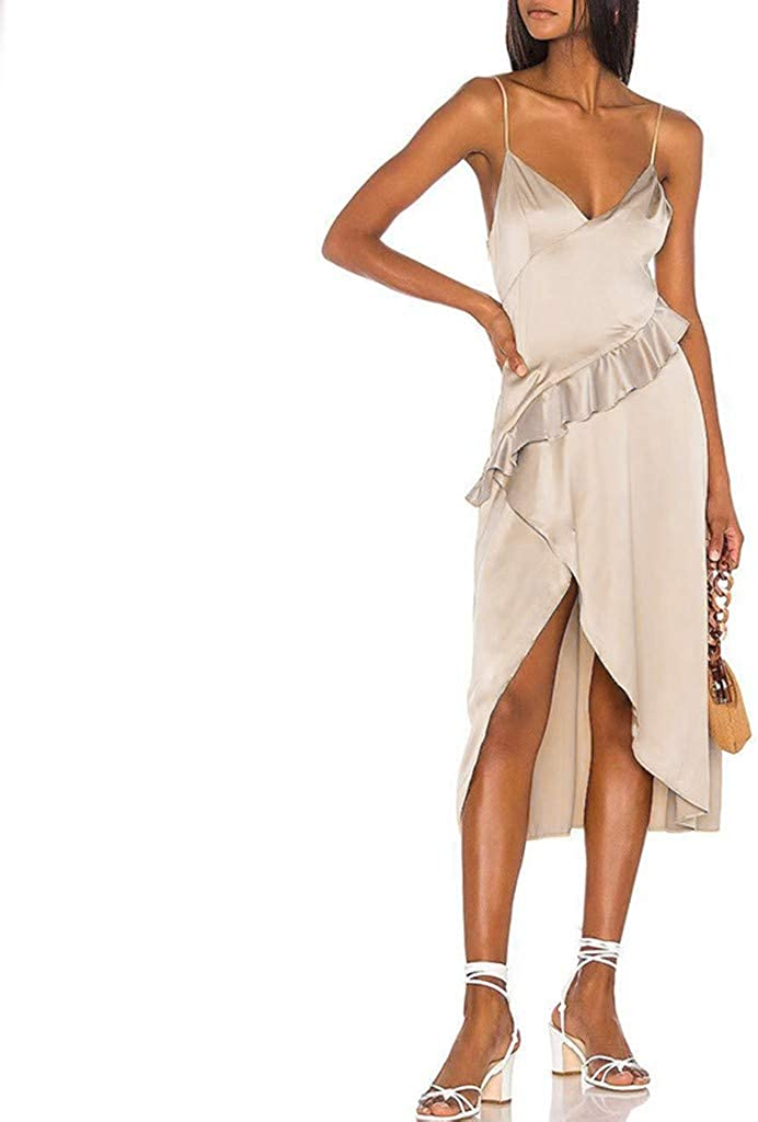 Mikey Store Women's Solid Color Side Slit Spaghetti Strap Irregular Cami Dress