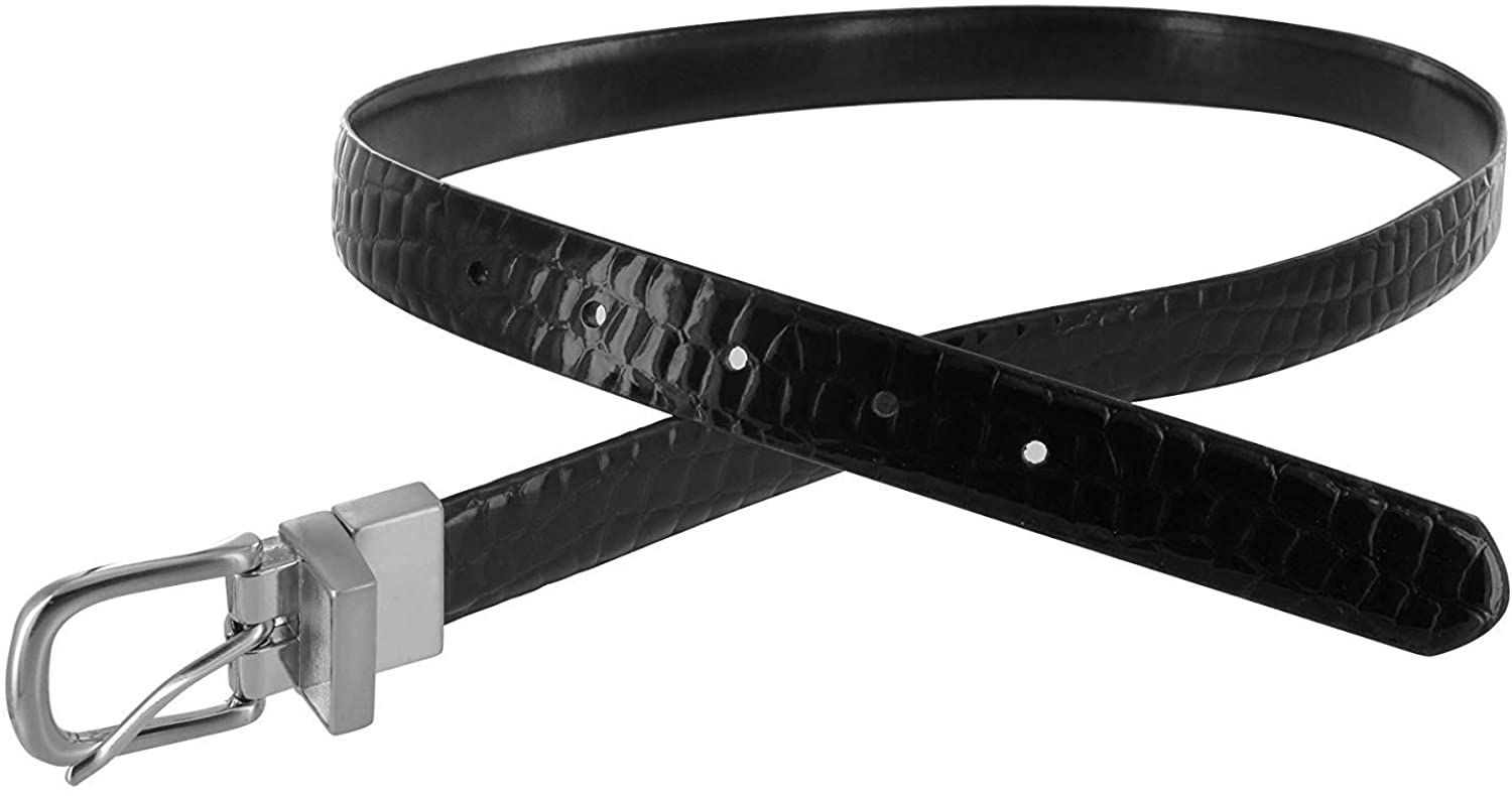 Womens Inch Wide Reversible Crocodile Print Black Belt With Silver Buckle