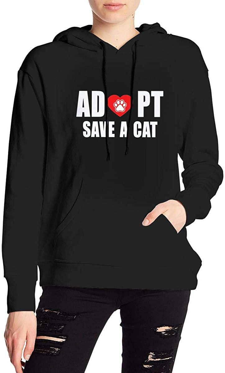 Adopt A Cat Women's Long Sleeve Drawstring Pullover Hoodie Pocketed Sweatshirts