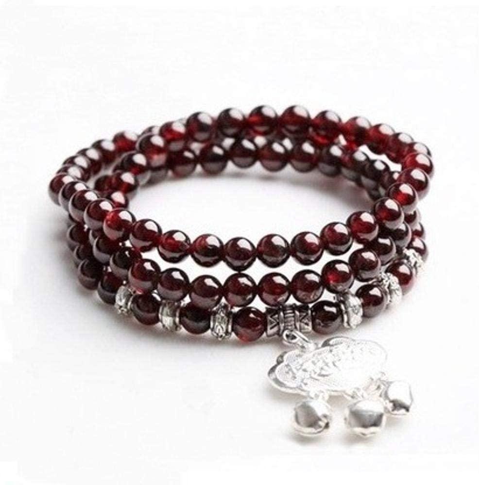 MGZDH 5mm Natural Pomegranate Caryatid Longevity Lock onto Bracelet Three-Circle Hand String