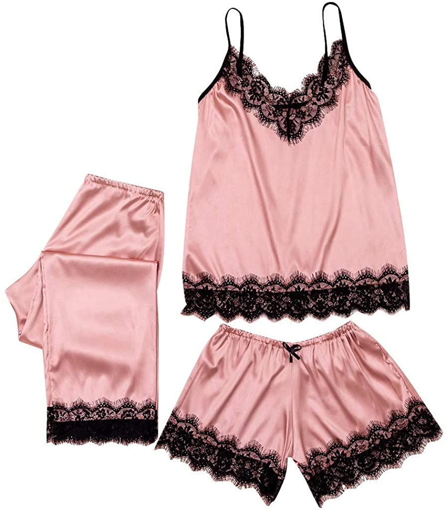 BUETERE 3PC Women Lace Satin Sleepwear Lingerie Camisole Bow Trousers Casual Pajamas