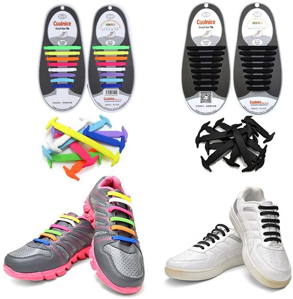 Joyshare No Tie Athletic Silicone Rubber Elastic Shoelace for Kids and Adults,Waterproof Athletic Running Shoe Laces for Sneaker Boots Board Shoes and Casual Shoes - Pack of 2