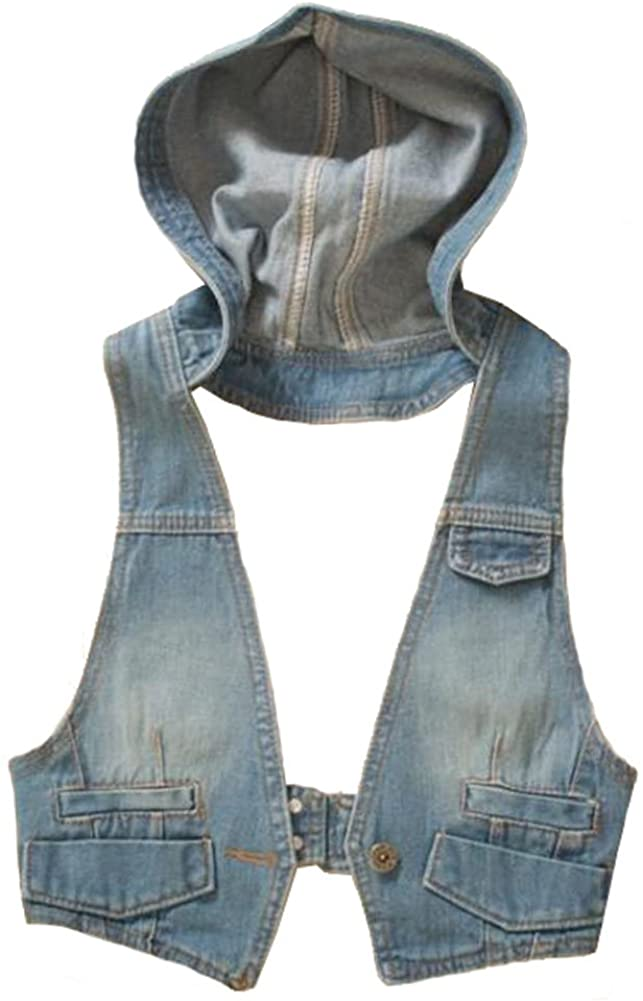 George Jimmy Denim Vest Sleeveless Hooded Jacket Solid Color College Style