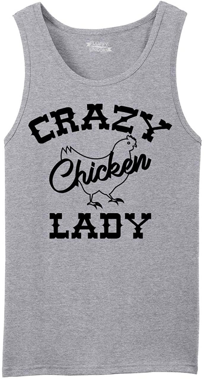 Comical Shirt Men's Crazy Chicken Lady Tank Top