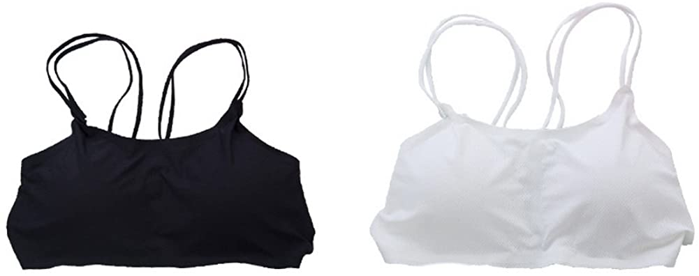 Gentle Meow Women Double Strapped Style Camisole Wrapped Chest Tank Crop Vest,Black + White