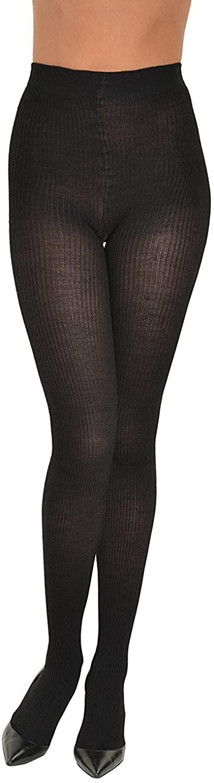 Sock Snob Semi Opaque Black Ribbed Designer Tights One Size 36-42 Hip, Black
