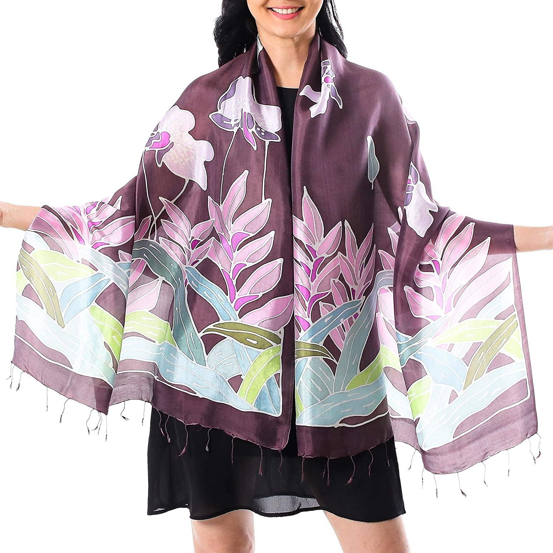 NOVICA Multicolor Batik Silk Shawl, Tropical Haven'