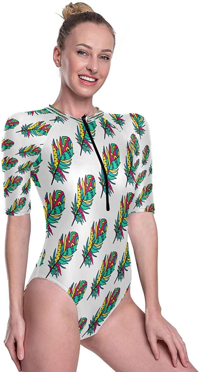 Womens One Piece Short Sleeve Rashguard Swimsuit Beautiful Colorful Birds Feathers Surf Swimwear