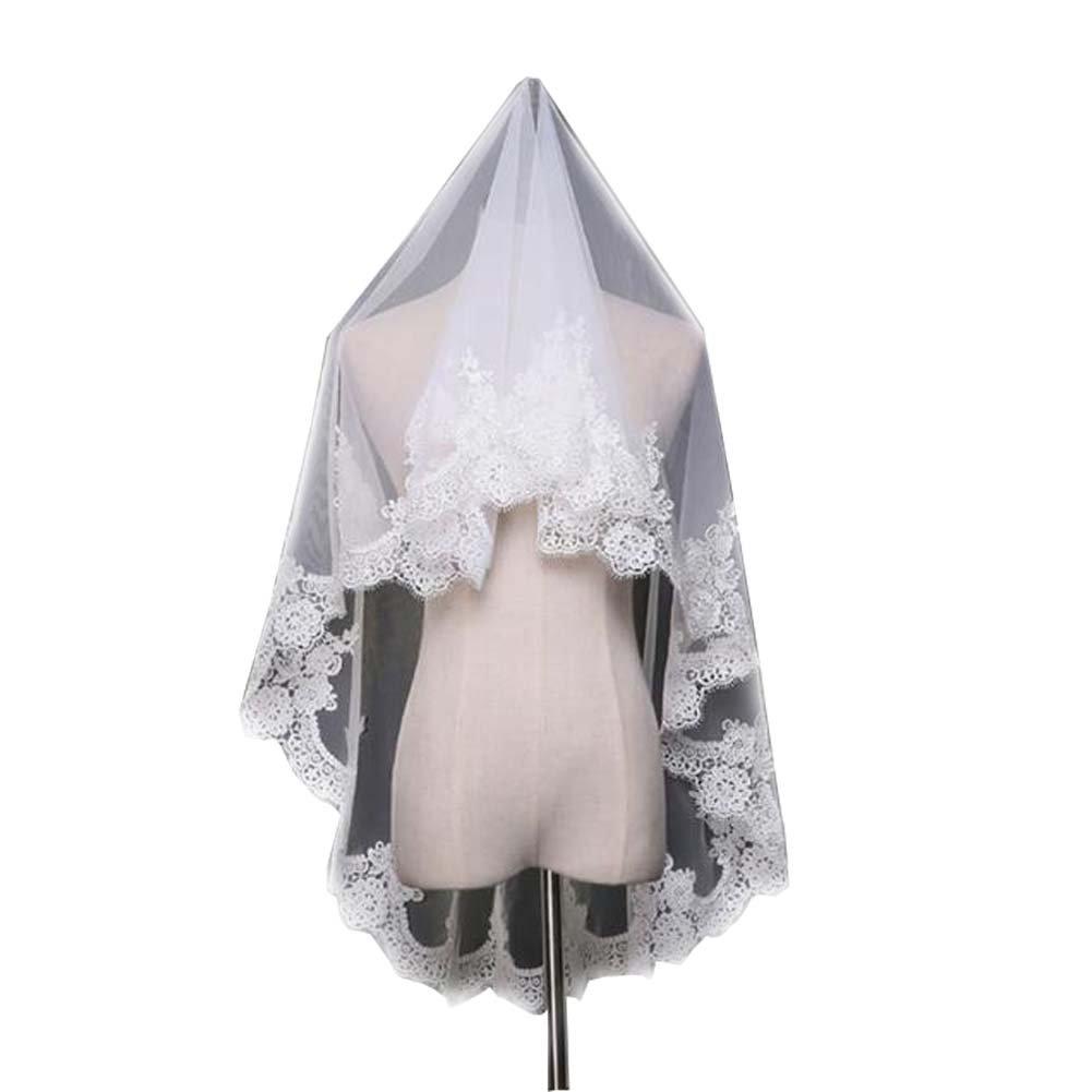 Elegant White Lace Tulle Veil Women Wedding Bridal Veil #3