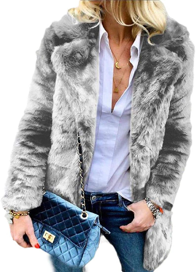 Losait Womens Faux Fur Turn-Down Collar Fluffy Pure Color Fall Winter Top Coat
