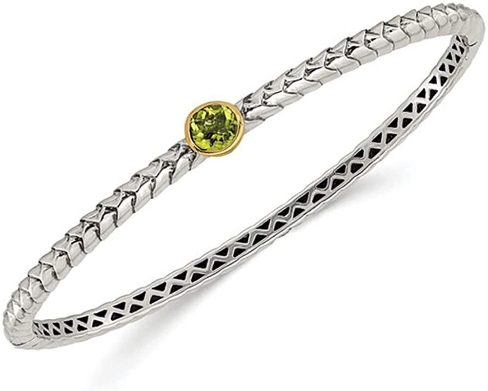 3/4 Carat (ctw) Natural Green Peridot Bangle Bracelet in Sterling Silver