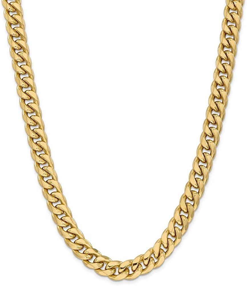 14k 11mm Semi solid Miami Curb Chain Necklace 28 Inch Jewelry Gifts for Women