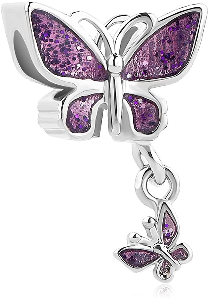 Heart of Charms Love Butterfly Charms Dangle Charms Beads for Snake Chain Bracelets