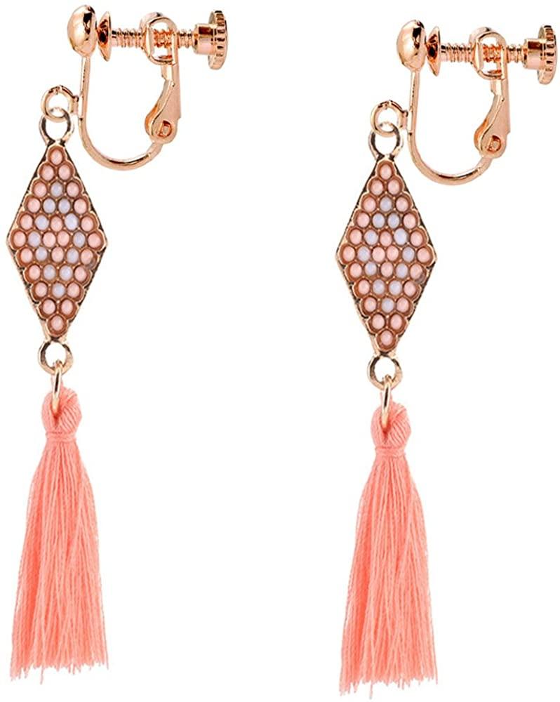 Clip On Earrings Tassel Rhombus Earrings Dangle Rose Gold Plated Proms Personality Gift